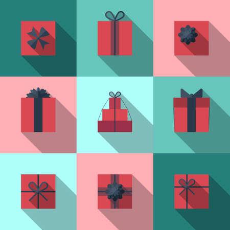 cajas navideñas: Piso icono caja de regalo conjunto con diferentes arcos. Envoltorio de regalo. Papel de regalo. Paquete de regalo. Piso icono caja de regalo con una larga sombra.