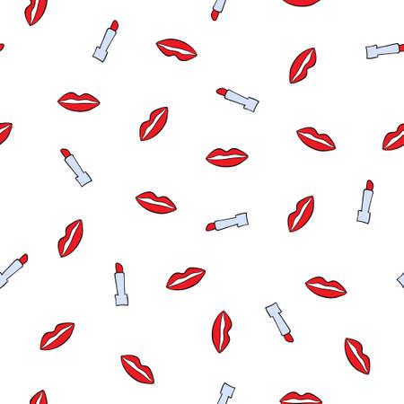 red lips: Modelo con los lápices de labios y los labios rojos. Doodle textura perfecta con los labios rojos besos y barras de labios rojos.