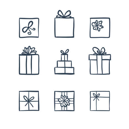 Hand drawn icons gifts with bows in cartoon style. Doodle gift box icon set with different bows. Gift wrap. Gift package. Doodle gift box icon isolated on white background. Thin line doodle icon set. Ilustracja
