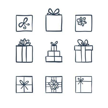lijntekening: Hand getrokken pictogrammen geschenken met bogen in cartoon-stijl. Doodle gift box icon set met verschillende strikken. Cadeaupapier. Geschenk pakket. Doodle geschenkdoos pictogram op een witte achtergrond. Dunne lijn doodle icon set. Stock Illustratie