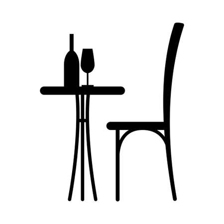side menu: Wine on the table and chair silhouette. Silhouette of a table in a cafe. Table with wine and glass and with a chair beside him.