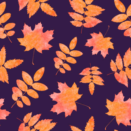 autumn leaves falling: Autumn leaves watercolor seamless pattern. Falling Leaves