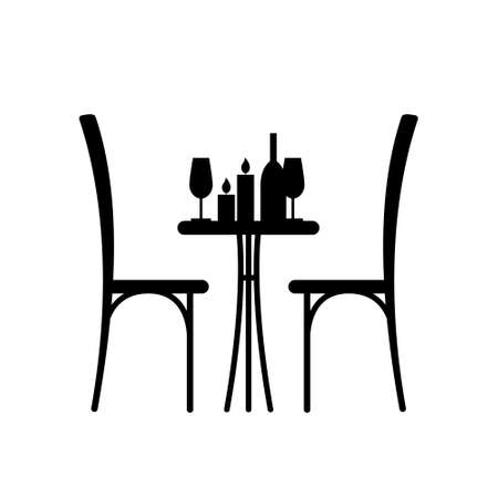 Wine and candles on the table and chair silhouette. Silhouette of a table in a cafe. Table with wine and glass and with a chairs beside him. Interior of the cafe. Table in the restaurant for two. 일러스트