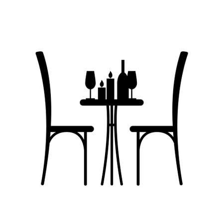 silla: Vino y velas sobre la mesa y una silla silueta. Silueta de una mesa en un café. Tabla con el vino y el vidrio y con sillas al lado de él. Interior de la cafetería. Mesa en el restaurante para dos. Vectores