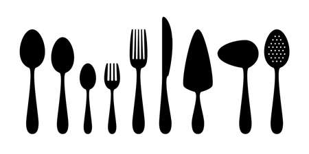 utensil: Set of flat icons cutlery isolated on white background. Fork, spoon, knife, spatula, spoon sauce silhouette. Tableware icon set.