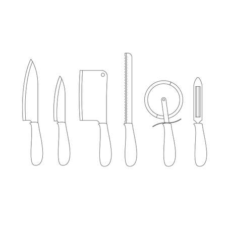 kitchen cleaning: Set of kitchen knives vector illustration in line art style. Chefs knife, cleaning vegetables, cleaver, knife for bread, pizza knife, small knife thin line icon collection isolated on white Illustration