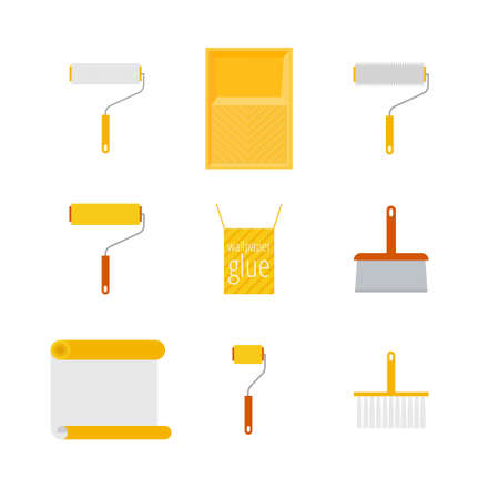 Home repair flat icons. What is needed for wallpapering. Icons of rollers, spatula, tray, wallpaper, wallpaper paste in a flat style isolated on white background.