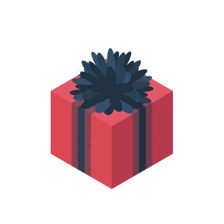 gift wrapping: Flat isometric gift box icon with bow. Gift wrapping. Gift wrap. Gift package. Isometric gift box icon Illustration