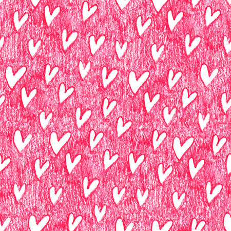 crayons: Oil pastel seamless pattern with hearts Illustration