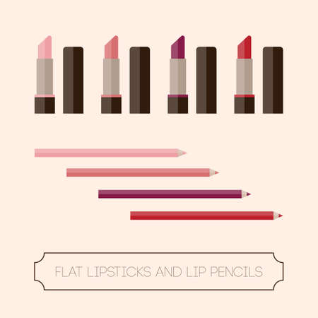 the lipstick: Flat set of lipstick and lip liner. Red lipstick, pink lipstick, coral lipstick, wine lipstick. Multicolored lipsticks and lip pencils