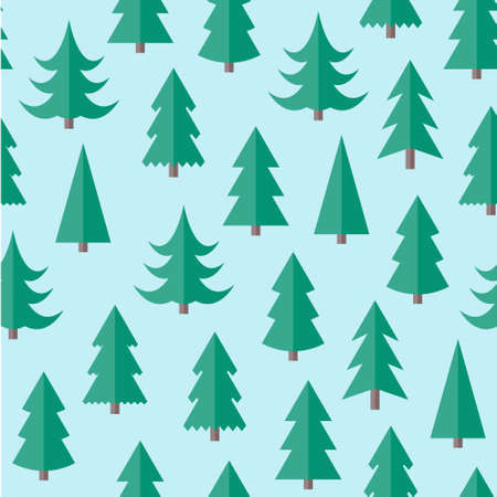 Flat seamless pattern with Christmas trees. Abstract texture with trees. Fir forest. Christmas forest seamless