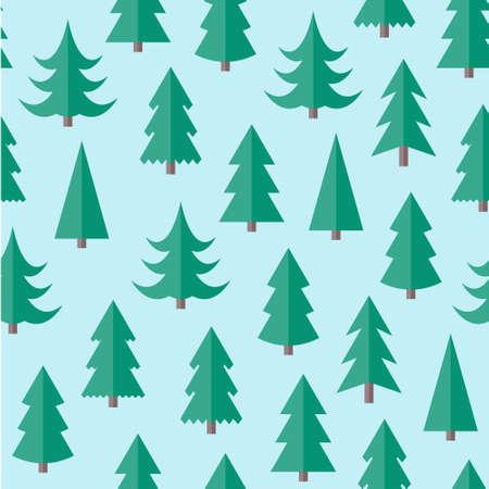 Wohnung nahtlose Muster mit Weihnachtsbäumen. Abstrakte Beschaffenheit mit Bäumen. Tannenwald. Weihnachtswald nahtlose Illustration