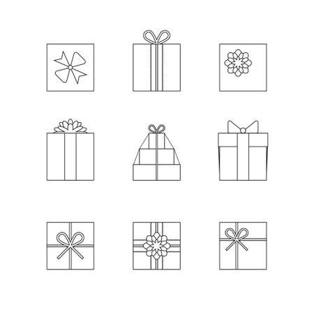 Flat gift box icon set with different bows. Gift wrapping. Gift wrap. Gift package. Flat gift box icon. Thin line silhouettes of gift boxes isolated on white background Çizim