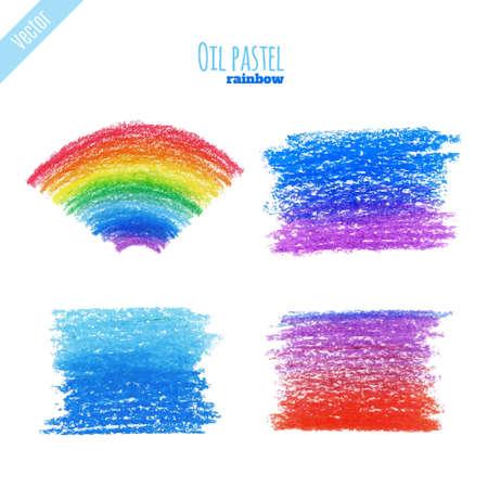 Handpaint oil pastel rainbow background