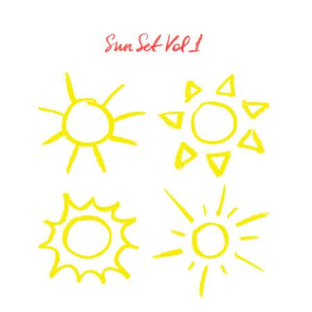 sole: A mano pastello ad olio disegnato tramonto. Tanti soli diversi isolati su sfondo bianco. Paste olio Doodle soli cartoni animati. Illustrazione da soli. Icone del sole impostate. Soli gesso colorato.