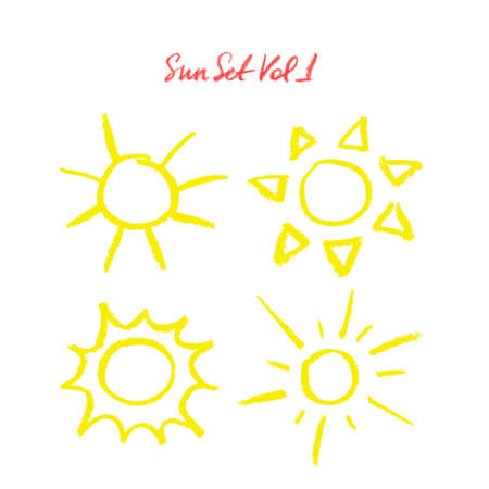 Hand drawn oil pastel sun set. Many different suns isolated on white background. Oil pastes doodle cartoon suns. Illustration of suns. Sun icons set. Colorful chalk suns. Çizim