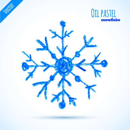 ice crystal: Vector hand drawn oil pastel bright blue snowflake. Doodle cartoon snowflake.