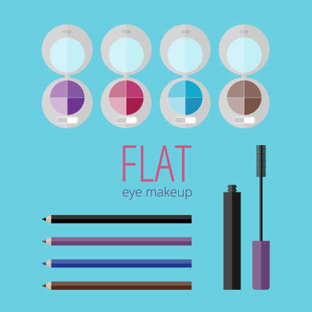 makeup products: Flat eye makeup set. Eye shadow, mascara, eyeliners.Illustration of products for eye makeup in flat style