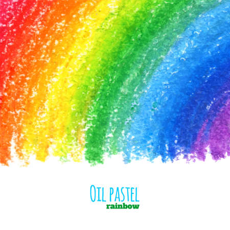 rainbow background: Hand drawn colorful oil pastel rainbow background. Crayon background