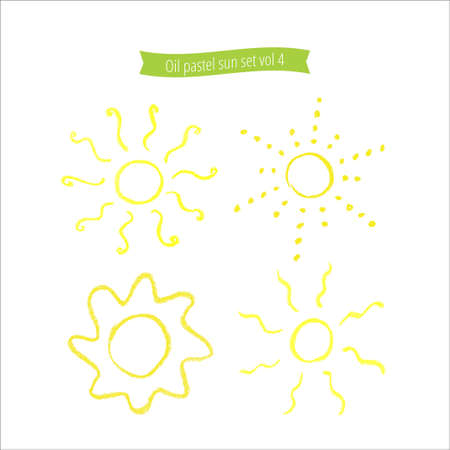pastes: Hand drawn oil pastel sun set. Many different suns isolated on white background. Oil pastes doodle cartoon suns. Illustration of suns. Sun icons set. Colorful chalk simple suns. Illustration