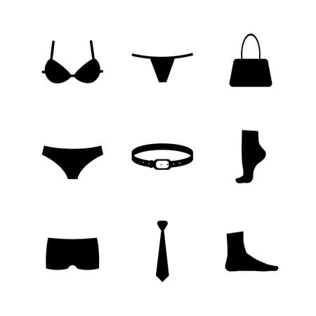 bikini top: Vector collection of silhouettes of underwear and accessories isolated on white background.