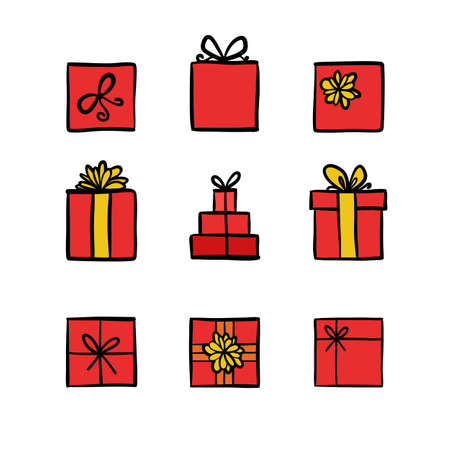 Hand drawn icons gifts with bows in cartoon style. Doodle gift box icon set with different bows. Gift wrap. Gift package. Gift icon isolated on white background. Thin line colored doodle icon set.