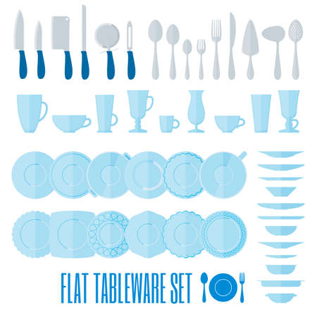 dinnerware: Flat style tableware big icon set on white. Collection of simple geometric illustration of plates, cups and glasses, forks, spoons and knifes. Top and side view. For cafe and restaurant menu, design.