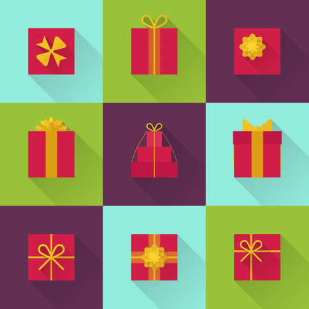 giftware: Flat gift box icon set with different bows. Gift wrapping. Gift wrap. Gift package. Flat gift box icon with long shadow. Illustration