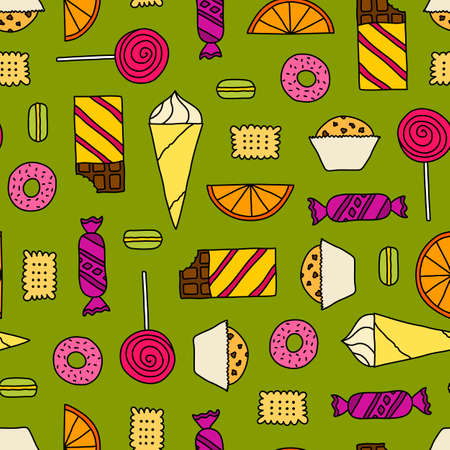 line pattern: Colorful seamless texture with cookies, chocolates, cakes and candies. Doodle seamless pattern with colored thin line candies.