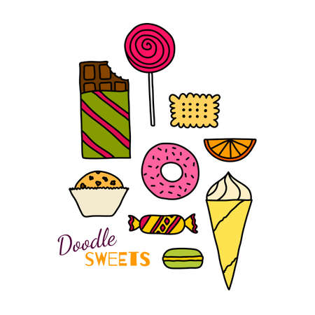 chocolate candy: Hand drawn colorful icon set of cookies, chocolates, cakes and candies. Doodle pictogram collection of sweets. Sketch design elements in cartoon style. Tasty colors symbol collection of candies.