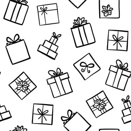 illustrated: Hand drawn seamless pattern with outline gifts with bows in cartoon style. Doodle thin line gift box texture with different bows. Gift wrap, package. Doodle gift box wallpaper on white background.