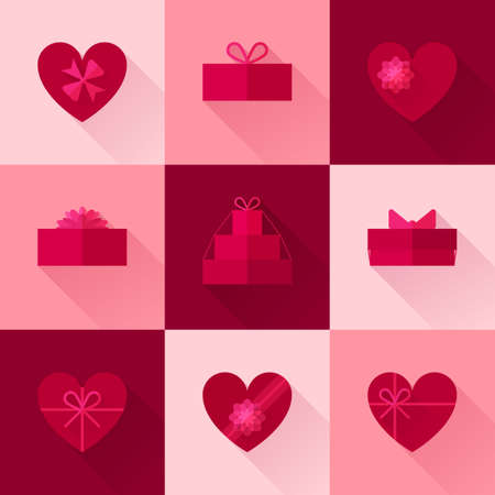 red gift box: Flat red gift box in the form of heart icon set with different bows. Valentines day surprise. Gift wrapping, wrap, package. Passion pink gift box icons collection with long shadow for web and design.