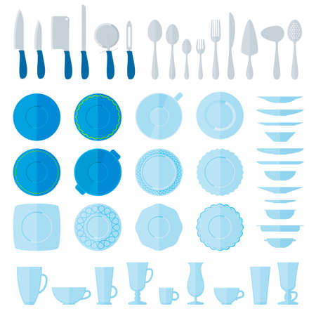 dinnerware: Flat style tableware big icon set isolated on white. Collection of simple illustration of plates, cups and glasses, forks, spoons and knifes. Top, side view. For cafe and restaurant menu, design.