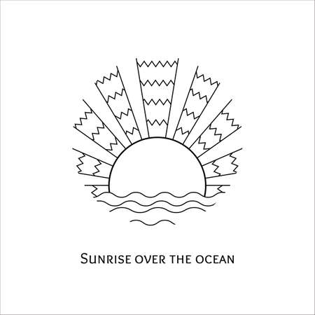 horizon: Vector monochrome line art illustration of sunrise over the ocean. Stylized mosaic logo sunset over the sea. Outline sunrise over the waves icon. Coloring.