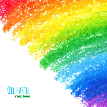 crayons: Hand drawn colorful oil pastel rainbow background. Crayon background