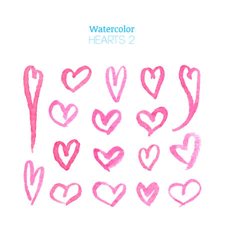 magenta: Hand drawn watercolor hearts set isolated on white background. Watercolor heart illustration. Pink watercolor hearts collection. Watercolor design elements. Doodle frames. Illustration