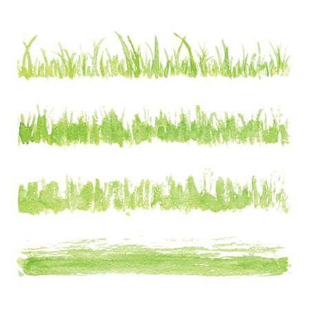 손으로 그린 수채화 잔디 세트 흰색 배경에 고립입니다. 스케치 잔디. 태양 잔디. 탄 잔디. 말라 허브. 라이트 그린 수채화 잔디 패턴입니다. 초록 잔디. 신선한 잔디 키트를 봄.