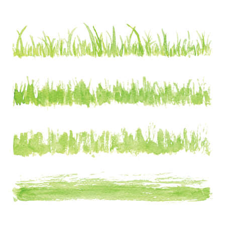 Hand drawn watercolor grass set isolated on white background. Sketch grass. Grass in the sun. Burnt grass. Withered herb. Light green watercolor grass pattern. Abstract grass. Spring fresh grass kit.