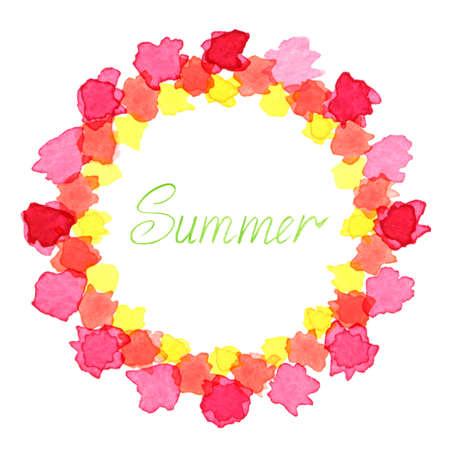 circlet: Hand-drawn watercolor frame isolated on white background. Colorful round frame of watercolor drops. Watercolor design elements. Watercolor wreath of abstract flowers. Circlet of flowers. Summer.