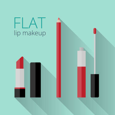 lip gloss: Flat lip makeup set. Lipstick, lip gloss and lip liner in flat style with long shadow. What you need to do red lips Illustration