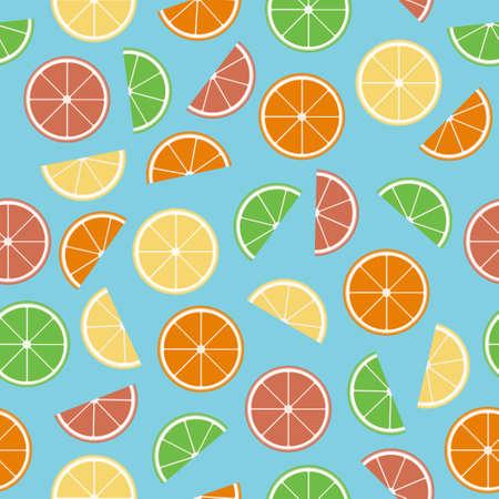 fruited: Colorful citrus seamless pattern. Geometric citrus: lemon, lime, grapefruit, orange. Flat seamless texture. Colorful fruit in a flat style