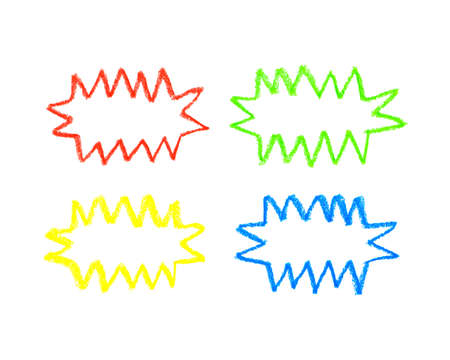 colour pencil: Hand drawn oil pastel colorful speech bubbles for comics isolated on white background. Zigzag bubbles for text and thoughts. Multicolored cartoon zigzag clouds.Oil pastel rainbow doodle frames.