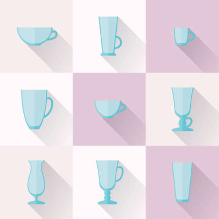 glassful: Set of cups and glasses for coffee and drinks icons in a flat style with long shadows. Abstract illustration of cups. Tableware icon set. Glasses for latte and cappuccino, for espresso based beverages