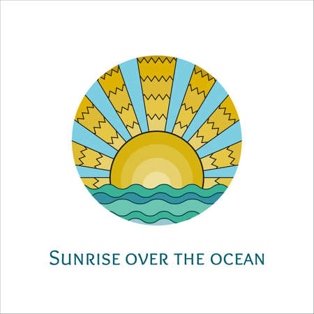 sunrise ocean: Vector colorful stained-glass window style illustration of sunrise over the ocean. Stylized mosaic logo sunset over the sea. Sunrise over the waves icon.