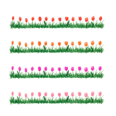 rows: Hand drawn watercolor grass with flowers. Floral pattern isolated on white background. Spring red, magenta, orange and light pink tulips set. Summer fresh flowers. Illustration
