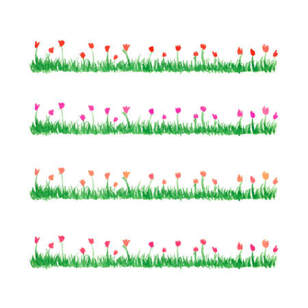 grass flower: Hand drawn watercolor grass with flowers. Floral pattern isolated on white background. Spring red, magenta, light orange and pink tulips set. Summer fresh flowers. Illustration