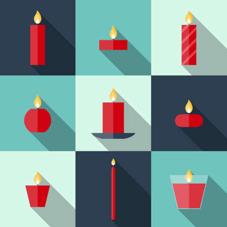 Flat icons Christmas candles with long shadows. Icons candles set. 9 different candles in flat style. Candles collection. Christmas card with candles Illustration