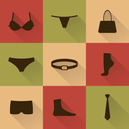 bra: Vector collection of silhouettes of underwear and accessories in flat style with long shadow.