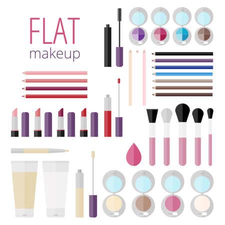 corrector: Flat mega set of makeup products!Makeup product for eyes, face, lips and tools. Mascara, eyeshadow, lipstick, lip gloss, lip liner, eyeliner, eyebrow pencil, brushes, sponge, foundation, powder, blush Illustration