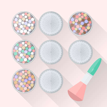 meteorites: Different shades of meteorites powder with brush in flat style with long shadows. Powder balls with kabuki brush. Colorful powder into spheres in a beautiful box